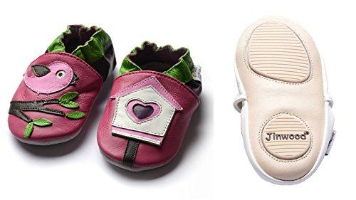 Jinwood designed by amsomo - BIRD HOUSE pink - mini shoes - Vogelhaus - Hausschuhe - Lederpuschen - Krabbelschuhe Pink