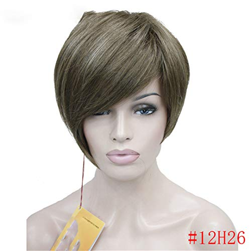 - Asymmetric Inclined Bangs Short Straight Bob Natural Synthetic Capless Full Wig For Women Multi Color 6inches