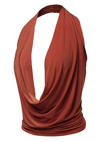 Sexy Drape Deep V-Neck Cowl Neckline Halter Backless Party Club Top Rust M
