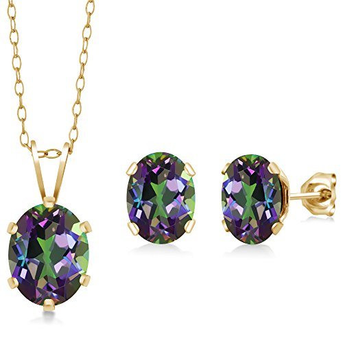 Gem Stone King 3.50 Ct Oval Green Mystic Topaz Gold Plated Silver Pendant Earrings Set