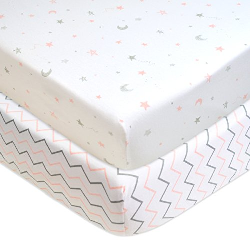 American Baby Company 2 Piece Printed 100% Cotton Jersey Knit Fitted Crib Sheet for Standard Crib and Toddler Mattresses, Pink Stars/Zigzag (Girls Standard Star)