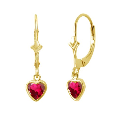 14K Gold Fleur De-Lis Lever Back Earrings with Dangling 5x5mm Heart Shaped Simulated Birthstone - Created Ruby