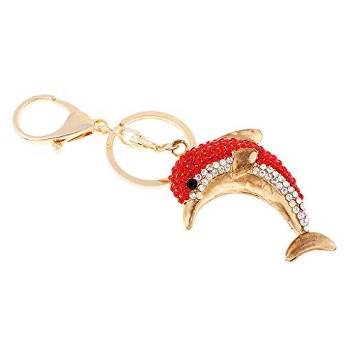 NATFUR Cute Dolphin Sparkling Charm Blingbling Keychain Crystal Rhinestone Pendants Elegant Pretty Novelty Key-Chain for Women for Men Holder for Girls | Color - Red