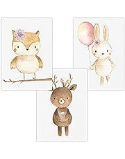 Wandbilder 3er Set für Baby & Kinderzimmer Deko Poster | Kunstdruck DIN A4 ohne Rahmen und Dekoration (Junge/Mädchen)