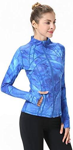 ヨガを実行するためのタイトな親指穴スポーツトップスとジャケットを実行している女性、ジッパーロングスリーブヨガのためのワークアウトクロップトップス,XL