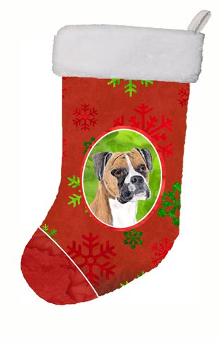 Caroline's Treasures Boxer Red and Green Snowflakes Holiday Christmas Stocking, 11 x 18
