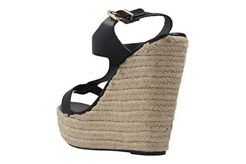 ANDRES MACHADO - Damen Keil-Sandaletten - Schwarz Schuhe in Übergrößen
