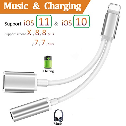 Lightning Jack Adapter Headphone for iPhone X 10 8/8Plus iPhone 7/7Plus Converter.2 in 1 Lightning Adaptor to 3.5mm Earphone Charger & Audio Accessories Cable Splitter. Compatible iOS 10.3/11 or Later