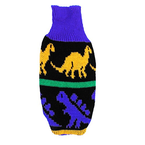 uxcell Blue Yellow Turtleneck Dinosaur Print Pet Dog Clothes Sweater Coat XXS