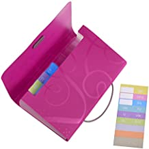 COSMOS 13 Pockets Expanding Files Folder Small Expandable File Folder with Tabs Organizer for Receipts Coupons and Tickets (Hot Pink)