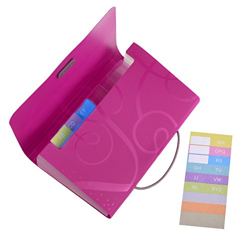 File Hot (Cosmos 13 Pockets Expanding Files Folder Small Expandable File Folder with Tabs Organizer for Receipts Coupons and Tickets (Hot Pink))