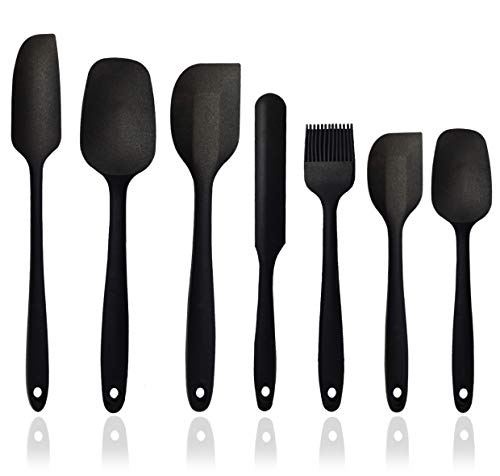 Silicone Spatula Set - 7-Piece Silicone Spatula Heat Resistant & Non-Stick, for Cooking, Baking and Mixing - BPA Free and FDA Approved With Stainless Steel Core (Black)