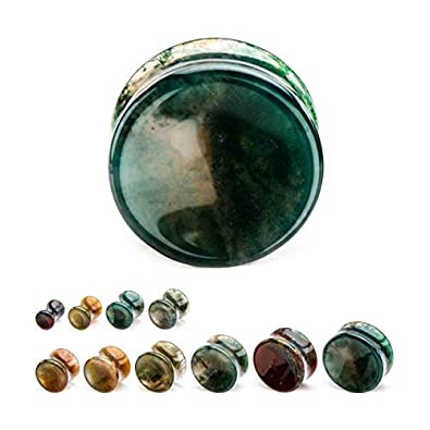 GranTodo Smooth Double Flared Indian Agate Stone Plugs