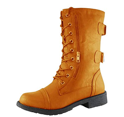 Boots Waterproof Cross Tied Zip Pocket Punk PU Block Low Heels Ladies Mid Calf Booties ()