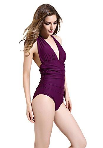 BANDEA V-neck Women One Piece Bathing Suits Ruched Halter Swimsuit Swimwear 4XL(US16) Dark Purple