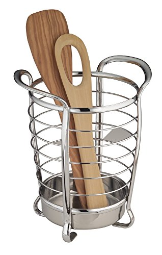 mDesign Utensil, Spatula, Silverware Holder for Kitchen Countertop Storage - Chrome