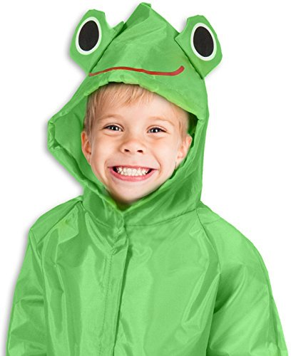Safe PVC Free Kids Rain Coat Boys Girls Ages 7-12 Rain Poncho for Children with Zipper Fun Raincoat, Green - Frog Raincoat