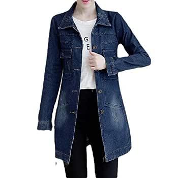 neveraway Women's Slim Button Down Pocket Mid-Long Plus Size Jean Jacket Dark Blue 3XL