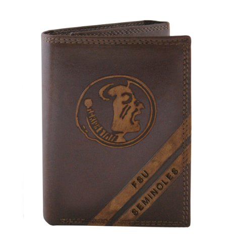 Credit Card Florida State (NCAA Florida State Seminoles Zep-Pro Pull-Up Leather Trifold Embossed Wallet, Brown)