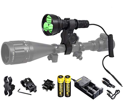 Orion M30C Green 377 Yards 700 Lumen Long Range LED Hog Predator Varmint Hunting Light Flashlight Kit - Scope Barrel Rail Mounts, Remote Pressure Switch and Rechargeable Batteries and Charger