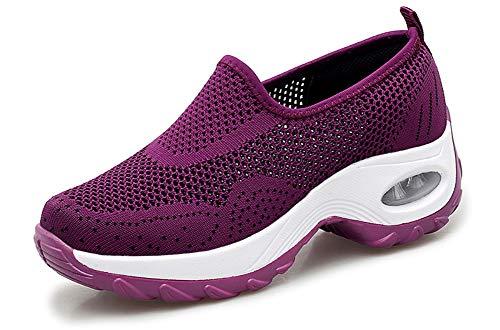 (GZTEESER Platform Slip on Sneakers for Women Comfortable Walking Shoes Purple Size 6)