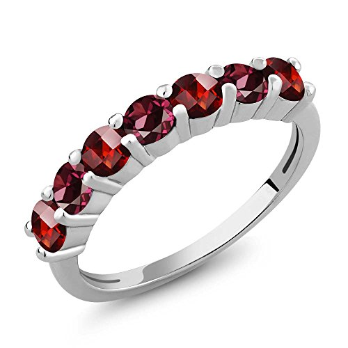Gem Stone King 1.66 Ct Round Checkerboard Red Garnet Red Rhodolite Garnet 925 Sterling Silver Anniversary Ring (Size 5)