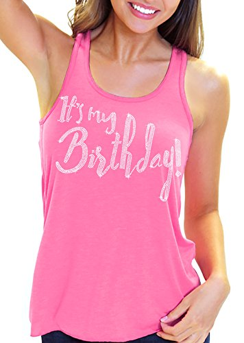 Pink Rhinestone Tank Top - It's My Birthday! Rhinestone Women's Flowy Racerback Tank Top - Large Electric Pink