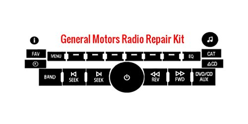 GMC Yukon Radio Button Repair Kit For Chevy Tahoe Chevy Silverado, Suburban, Sierra, Avalanche, Cadillac Escalade, Denali, Impala, Malibu Dealer Grade Matte Black Vinyl Overlay Decal