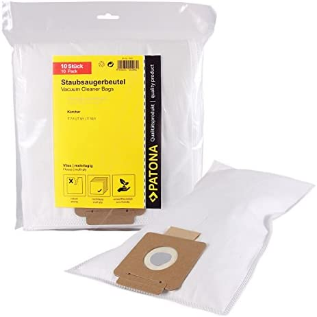 PATONA 10x Vacuum Cleaning Bags Compatible with Kärcher T 7/1, T9/1, T10/1, 6.904-084.0, tearproof Bags 5-Layered Made of Synthetic Fleece