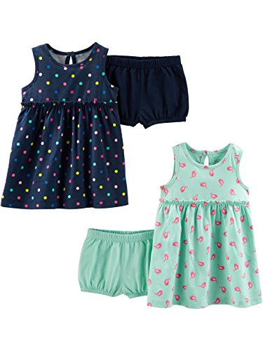 - Simple Joys by Carter's Girls' 2-Pack Short-Sleeve and Sleeveless Dress Sets, Navy Dot/Mint Bird, 24 Months