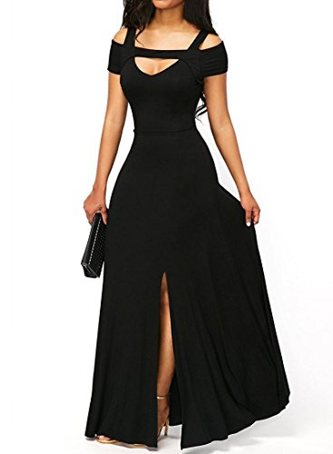 Long Party Dress (Dearlove Women's Sexy V Neck Cold Shoulder Short Sleeve Maxi Dress Split Formal Evening Party Long Dress Prom Gowns Solid Black M 8 10)