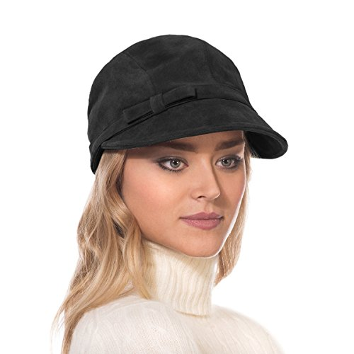 Eric Javits Luxury Fashion Designer Women's Headwear Hat - Suede Cap - Black by Eric Javits
