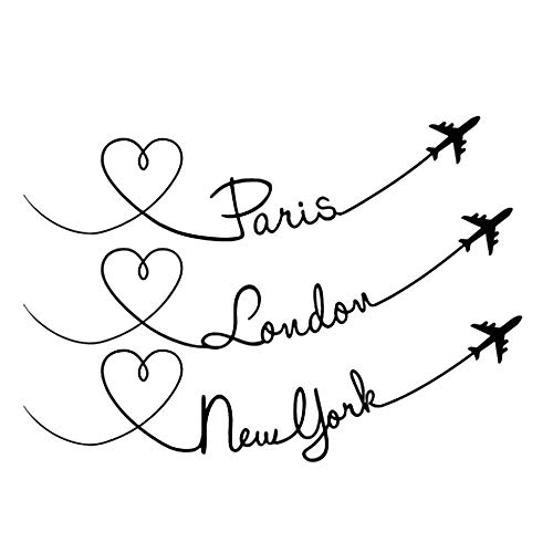 (DNVEN Quotes 23 inches x 16 inches Paris London New York City Flight Planes Graphic Words Wall Door Stickers Removable Vinyl Arts for Children's Day Bedrooms Family Playroom Classroom)