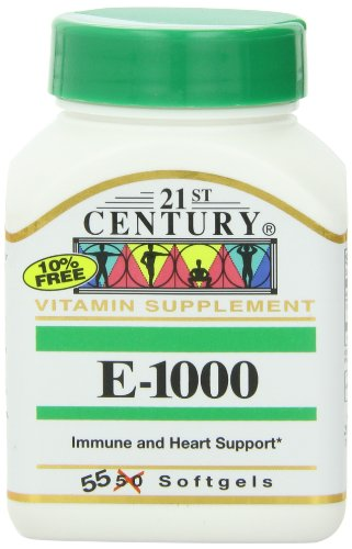 21st Century E 1000 I.U. (Dl-Alpha) Softgels, 55-Count