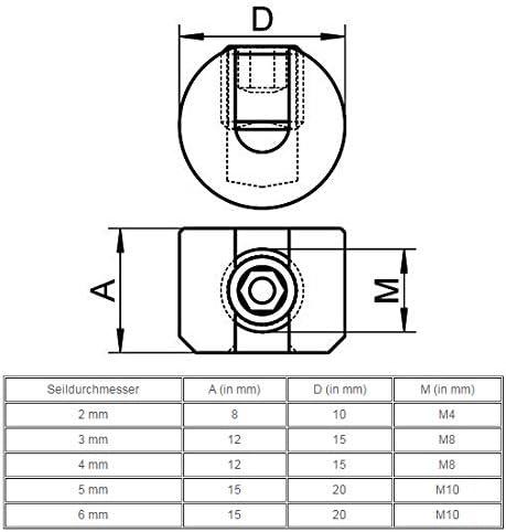 Arbo-Inox Seilstopper Drahtseil Klemme Drahtklemme Drahtseil Edelstahl VA4