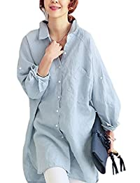 Women Casual Loose Long Sleeve Cotton and Linen Office Blouses Solid Tops
