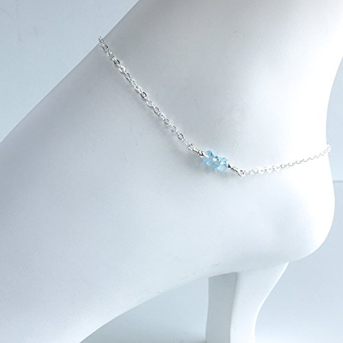 6bd05ec82 Amazon.com  Swiss Blue Topaz Ankle Bracelet - Available in Sterling Silver  and Gold  Handmade