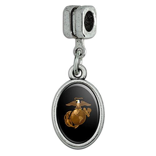 Marine Corps USMC Golden Logo on Black Eagle Globe Anchor Officially Licensed Italian European Style Bracelet Oval Charm Bead Eagle Italian Charm Bracelet