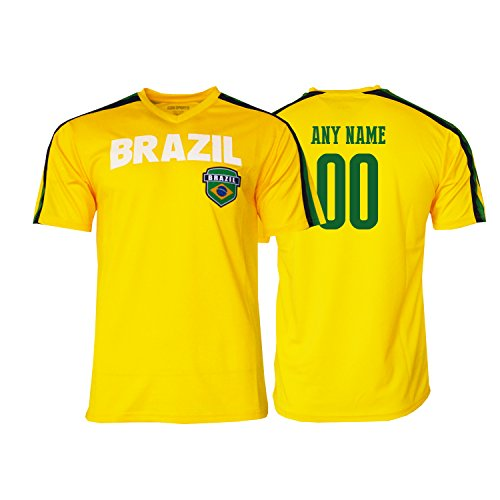 Pana Brasil Soccer Jersey Brazil Adult Training Custom Name and Number New Season (M, CUSTOM NAME (Spirit Contact Number)