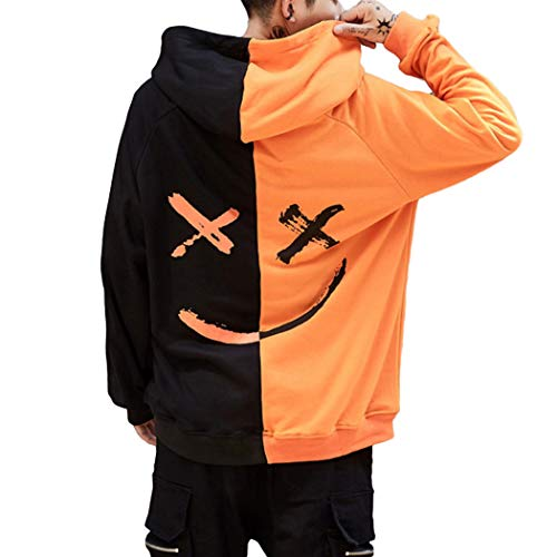 XWDA Mens Pullover Hoodie Sweater Smile Print Patchwork Halloween Costume Christmas Hip Hop Pocket Streetwear