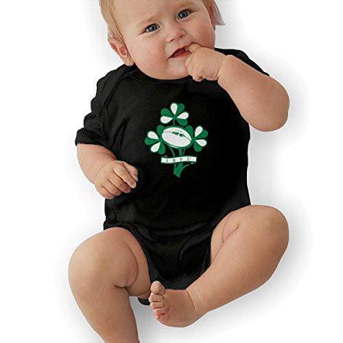 HKFG Ireland Rugby Union Cotton Baby Bodysuit Onesies Infant Short-Sleeve Unisex Black