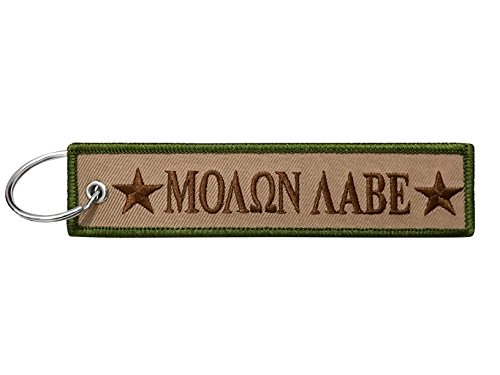 Military Molon Labe Keychain Tag with Key Ring, EDC for Servicemen, Car, Motorcycle ()