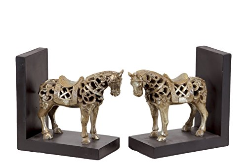 Urban Trends Urban Trends 80146-AST Resin Standing Horse Figurine with Saddle Bookend, Champagne, (Standing Horse Bookends)