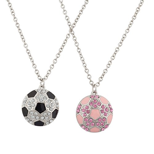 Lux Accessories Best Friends BFF Pink and Black Soccer Ball Sports Charm Necklace(2 Pc)