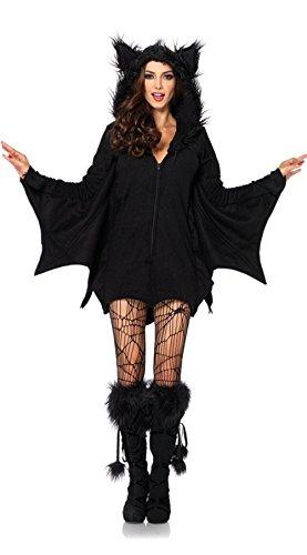 Halloween Cosplay Jumpsuit For Women - Alljoin Black Sexy Batman Hooded Jumpsuit Party Costume Vampire Uniform (S) -