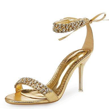 Dress Wedding Stiletto Glitter Rhinestone amp;Amp; EU37 5 Gold 5 5 Shoes CN37 Flower Club Sandals Party Women'S Silver Rose Satin Black Leather Evening US6 Heel UK4 7 qXvwz7nx