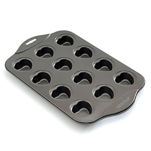 - Muffin Cake Pan, Mini Round Cake Muffin Top Pan Nonstick with 12 Heart Cups Stainless Steel - Silver Gray
