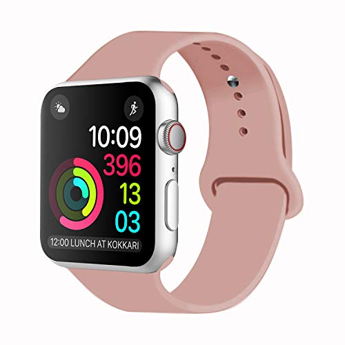 (Idon Sport Watch Band, Soft Silicone Replacement Sports Band Compatible with Smart Watch Band 2018 Series 4/3/2/1 38MM 40MM 42MM 44MM for Smart Watch All Models(Vintage Rose,38MM S/M))