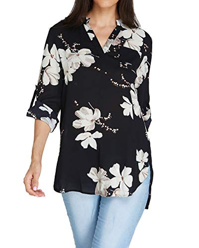 Auxo Women Long Sleeve Floral Print V Neck Chiffon Shirt Hawaiian Boho Swing Long Tunic Tops Black US 18/Asian - Tunic Hawaiian