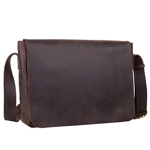 Leathario bolso bandolera para hombres de estilo clásico simple y retro con La primera capa de cuero de caballo loco para diario viaje o trabajo. café oscuro